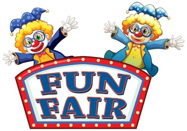 Fun fair zeichen mit zwei glücklichen clowns