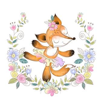 Fun fox ballerina in einem blumenkranz