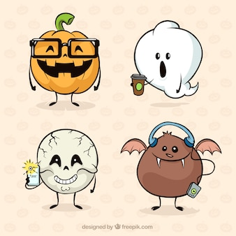 Fun halloween-kollektion mit handgezeichneten stil