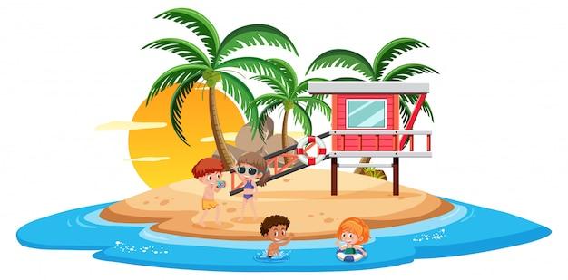 Fun island beach-szene