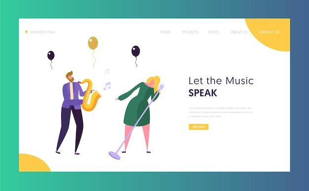 Fun jazz concert show konzept landing page. blondes haar sängerin und musikerfigur mit saxophon. bunte jazz band image website oder webseite. flache karikatur-vektor-illustration