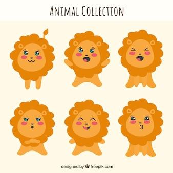 Fun lion kollektion mit flachem design