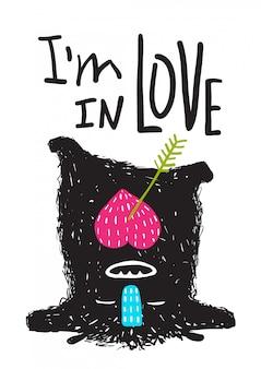 Fun monster in love glücklicher verkehrter cartoon für kinder
