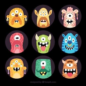 Fun pack von glücklichen mosnters avatare
