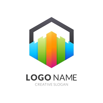 Fun schloss logo, schloss und sechseck