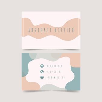 Funabstract visitenkarteschablone mit pastell-farbiger stainsny grafikdesigner-visitenkarteschablone