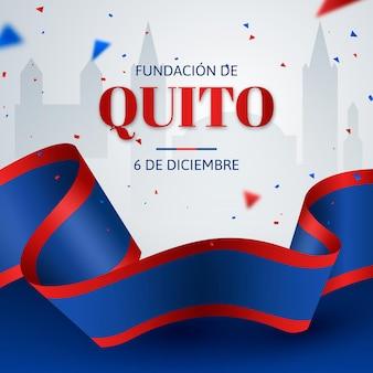 Fundación de quito hintergrund mit konfetti