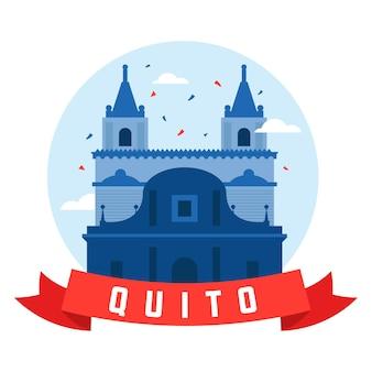 Fundacion de quito mit verschiedenen bannern und hintergründen