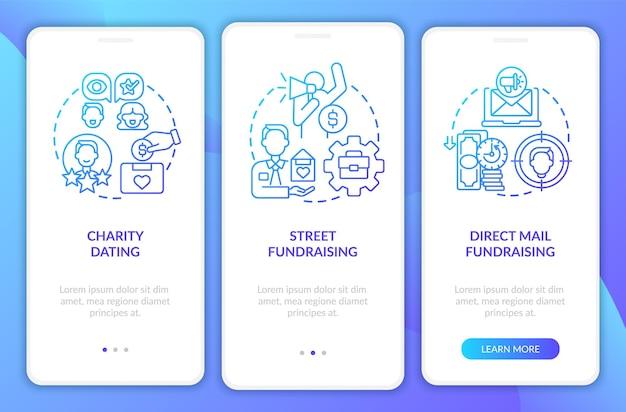 Fundraising-arten beim onboarding der mobilen app-seitenseite walkthrough für wohltätigkeitstreffen in 3 schritten, grafische anweisungen mit konzepten ui-, ux-, gui-vektorvorlage mit linearen farbillustrationen