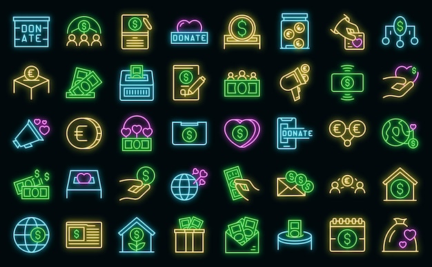 Fundraising-symbole setzen umrissvektor. beitrag spenden. wohltätigkeitsspenden