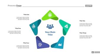 Fünf Punkte Prozessdiagramm Vorlage. Visualisierung von Geschäftsdaten