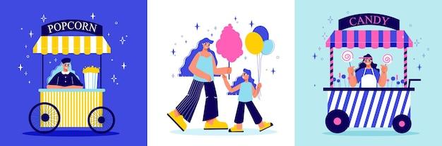 Funfair vergnügungspark design-konzept mit drei quadratischen kompositionen von doodle zeichen süßigkeiten und marktstände illustration