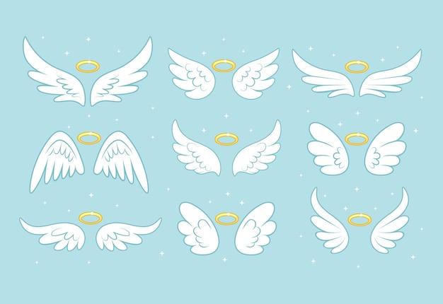 Funkelnde engelfeeflügel mit goldnimbus, heiligenschein lokalisiert auf hintergrund.