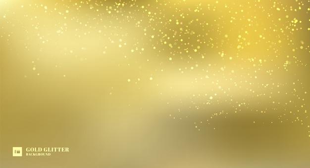 Funkelnde goldene glitzerlichter verwischten hintergrund.