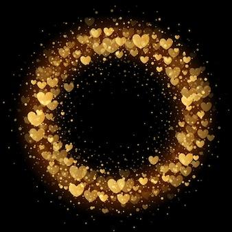 Funkelnde goldene herzen funkelndes muster des luxus-valentinstagkranzes für premium-hintergrund der schwarzen karte