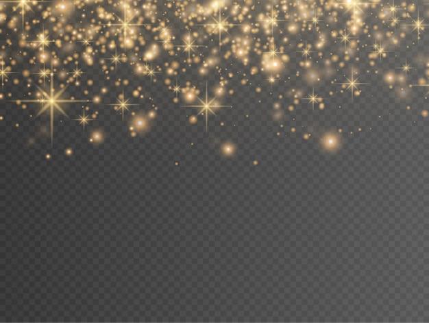 Funkelnde goldene magische staubpartikel auf transparentem hintergrund, funkeln.