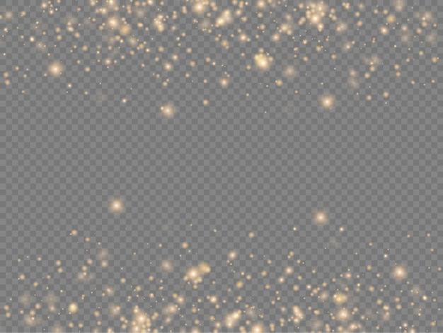Funkelnde goldene magische staubpartikel funkeln glanzlichter gelbe staubfunken und sterne