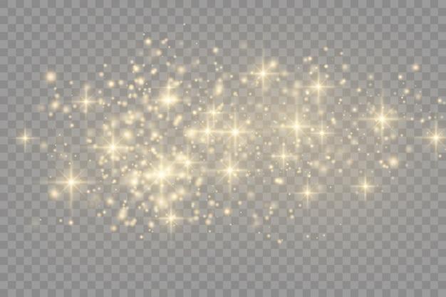Funkelnde goldene magische staubpartikel, funkeln, leuchten lichter, gelbe staubfunken und sterne leuchten mit besonderem licht,