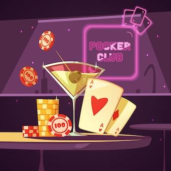Funkelnde kasinopokerclubillustration
