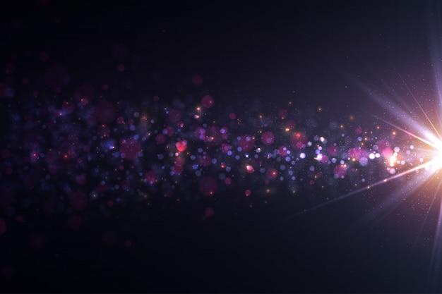 Funkelnde lichteffekte, linseneffekte und partikel