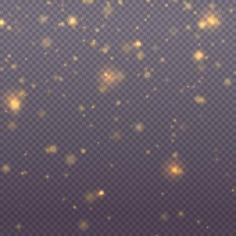 Funkelnde magische goldstaubpartikel helles licht glühen bokeh-hintergrund-glitter-partikel-vektor