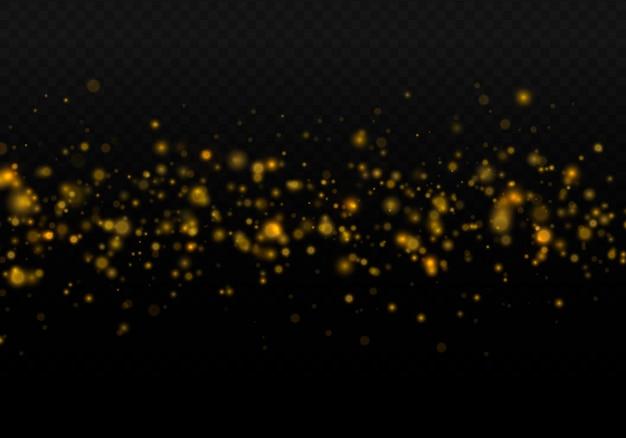 Funkelnde magische goldstaubpartikel helles licht glühen bokeh-hintergrund-glitzerpartikelvektor