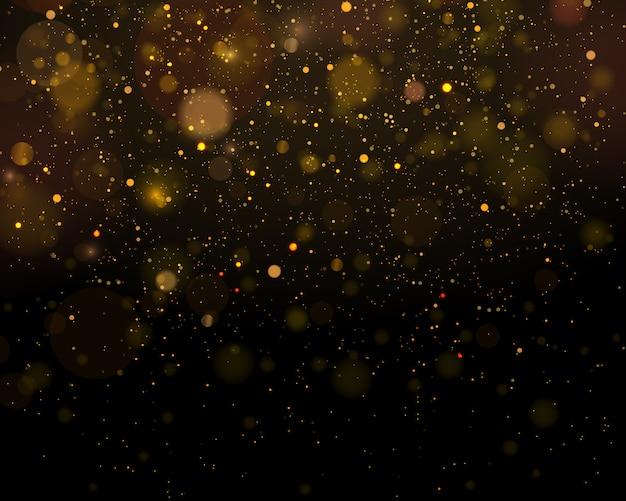 Funkelnde magische staubpartikel. abstrakter hintergrund mit bokeh-effekt.