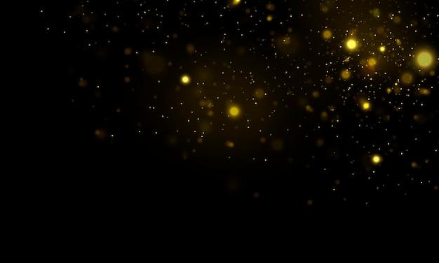 Funkelnde magische staubpartikel defokussiert gelbe lichter glühender gelber bokeh-kreise-vektor
