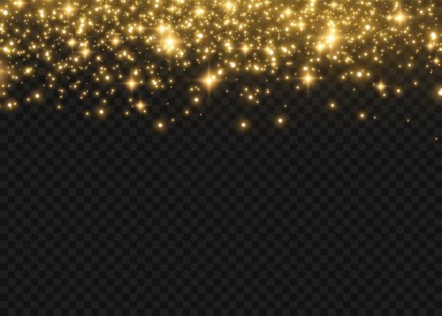 Funkelnde magische staubpartikel. gelbe staubgelbe funken und goldene sterne leuchten mit besonderem licht. abstrakter stilvoller lichteffekt auf einem transparenten hintergrund.