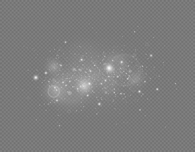 Funkelnde magische staubpartikel vektor funkelt auf transparentem hintergrund