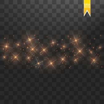 Funkelnde partikel der goldsternstaubspur isoliert auf transparentem hintergrund. goldglitterwellenillustration. magisches konzept