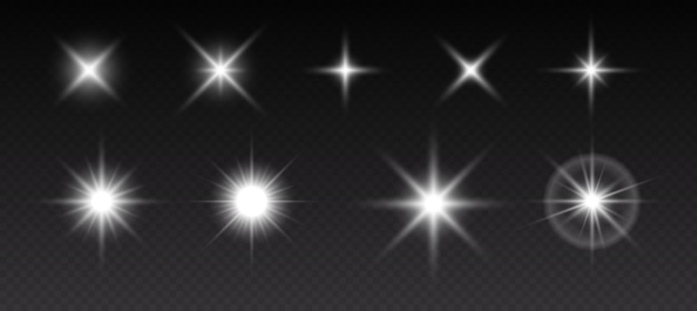Funkelnde sterne, flackernde und blinkende lichter. sammlung verschiedener lichteffekte auf schwarzem hintergrund. realistische vektorillustration