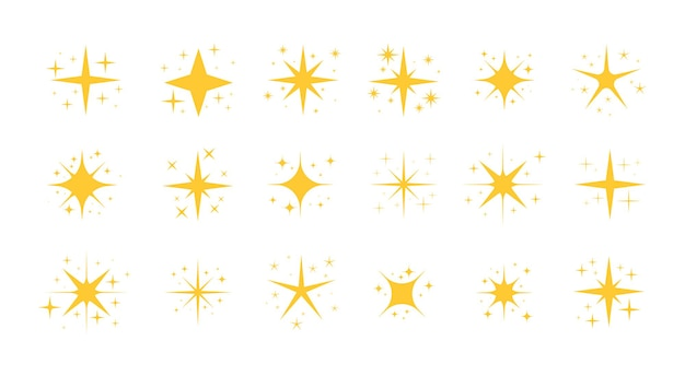 Funkelnde sterne set funkelnde sternpartikel glitzer funkelt und magisches funkeln