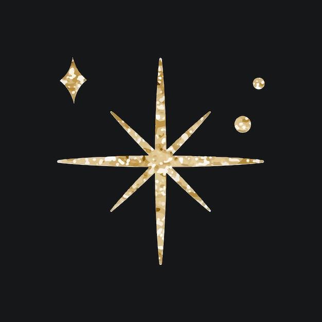 Funkelnde sterne-vektor-symbol mit glitzer-textur auf schwarzem hintergrund