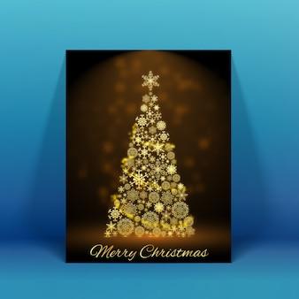 Funkelnde verzierte weihnachtsbaum-feiertagskarte auf blauer flacher illustration