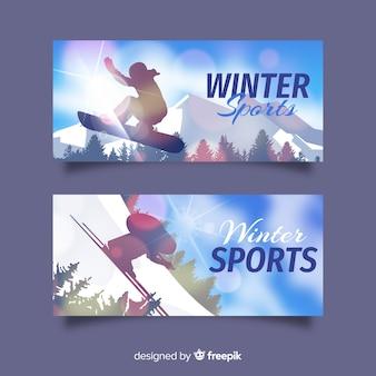 Funkelnde wintersportfahne