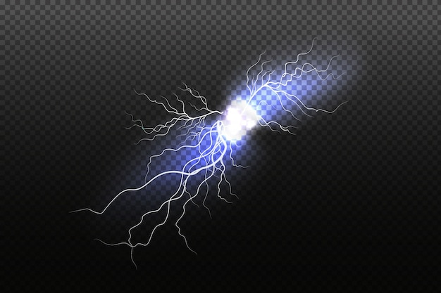 Funkelnder blitz auf schwarzem hintergrund. helle lichteffekte