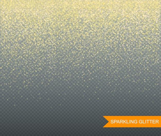 Funkelnder glitzer auf transparentem hintergrund für grußkarten. illustration
