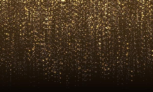 Funkelnder hintergrund. gold glitter konfetti. abstrakte teilchen. funkelndes gold. farbglitter auf schwarzem hintergrund. gold textur.