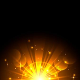 Funkelnder magischer lichteffekt des sonnenaufgangs