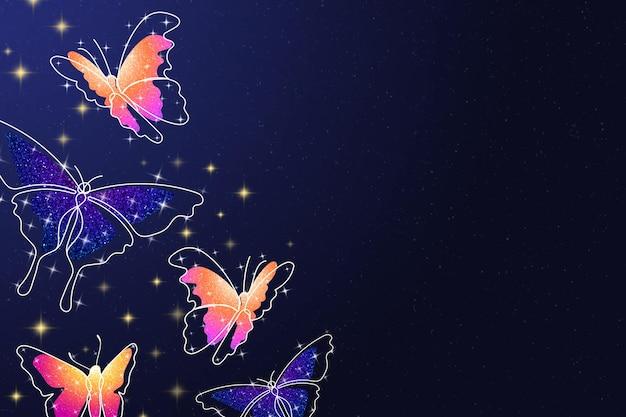 Funkelnder schmetterlingshintergrund, ästhetische violette grenze, vektortierillustration