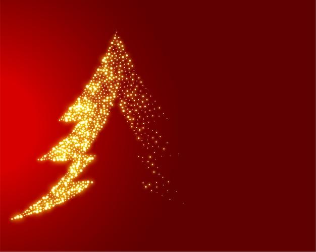 Funkelnder weihnachtsbaum auf roter illustration