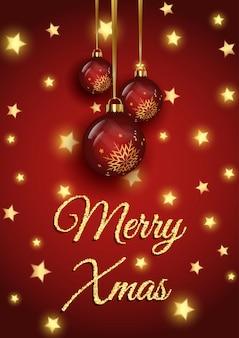 Funkelnder weihnachtshintergrund mit goldenen sternen und hängenden kugeln