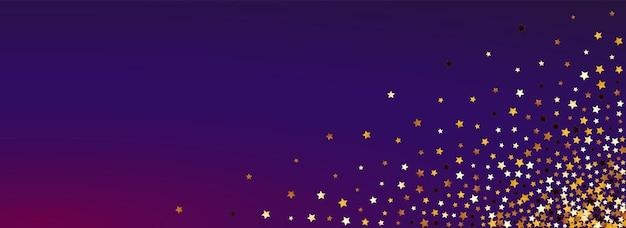 Funkelndes glühen vektor panoramischer lila hintergrund. vergoldete elegante glitzer-bordüre. hintergrundbild von konfetti weihnachten. goldenes funkelstaub-design.