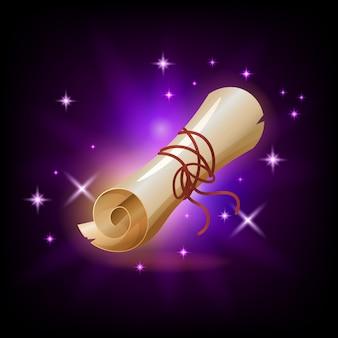 Funkelndes papier-scroll-symbol für spiel oder mobile app gegen dunkelheit