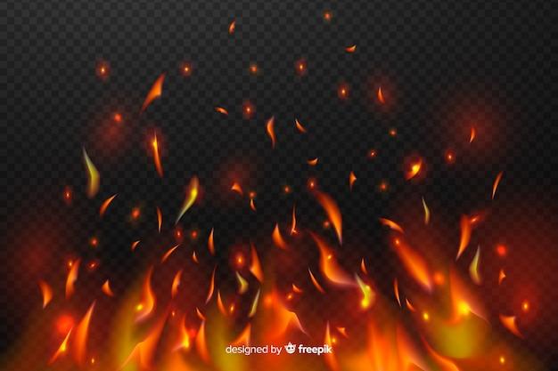 Funken des feuereffektes auf transparenten hintergrund