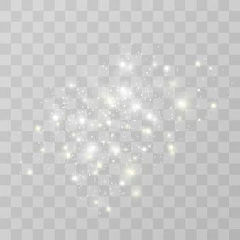 Funken glitzern besonderen lichteffekt, funkelt auf transparentem hintergrund. weihnachten funkelnde magische staubpartikel