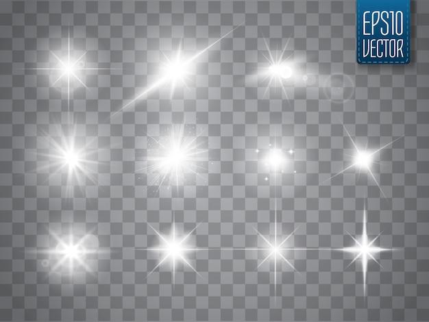 Funken isoliert. vektor leuchtende sterne. lens flares und sparkles