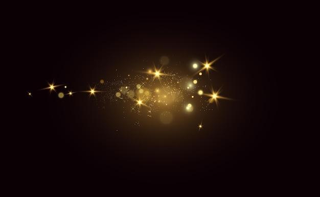 Funken leuchten mit besonderem licht. funkelt auf einem transparenten hintergrund.