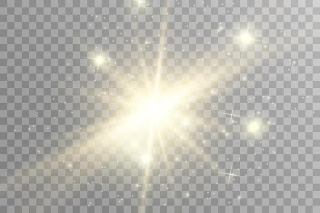 Funken und goldene sterne glitzern als besonderer lichteffekt. funkelt auf transparentem hintergrund. funkelnde magische staubpartikel.